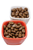 Chocolate Coated Raisins in Bowls — Stock Photo