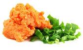Pasta di lenticchie con foglie di coriandolo fresco — Foto Stock