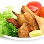 Samosa with mushroom snack with salad items — Stock Photo #18621285