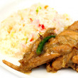 Pilaf with roasted chicken — Stock Photo