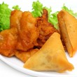 Samosa with mushroom snack - Stock Photo