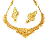Wedding gold necklace with earrings — ストック写真