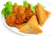 Samosa with mushroom snack — Stockfoto