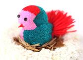 Cotton toy bird — Stock Photo