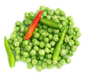 Frozen green peas with chilies — Stock Photo