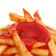 French fry with tomato sauce — Stock Photo