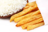 French fries with fresh rice — Stock Photo