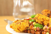 Fresh chickpeas on a plate with peaju — Stock Photo