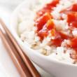 Stock Photo: Fresh rice with sauce
