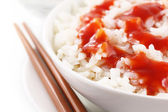Fresh rice with sauce — Stock Photo