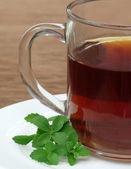 Stevia with cup of tea — Stock Photo