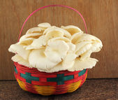 Basket of mushrooms in kitchen — Stock Photo