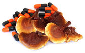 Mushrooms with capsules — Stock Photo