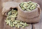 Cardamom seed in sack — Stock Photo