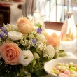 Stock Photo: Flowers on wedding table