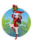 圣诞老人的女孩 — 图库矢量图片