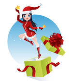 Santa Claus girl — Stock Vector