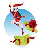 Santa claus dívka — Stock vektor
