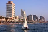 View of the beach of Tel-Aviv from sea, Israel — Stock Photo