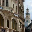 Facades of the old houses in the town Riga, Latvia — Stock Photo