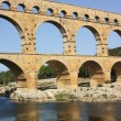 View over Pont du Gard, first century BC, France - Stock Photo