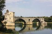 """View over the Rhône River to North-East with the Pont Saint-Bénezet or """"Pont d'Avignon"""" , Avignon, France — Stock Photo"""