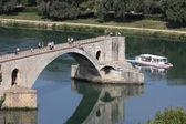 """View over the Rhône River with the Pont Saint-Bénezet or """"Pont d'Avignon"""" , Avignon, France — ストック写真"""
