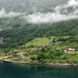 Geirangerfjord and small village of Geiranger. Norway — Stock Photo