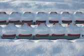 Stadium filled up by snow — Stock Photo