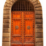 Wooden closed brown door. — Stock Photo #13791300