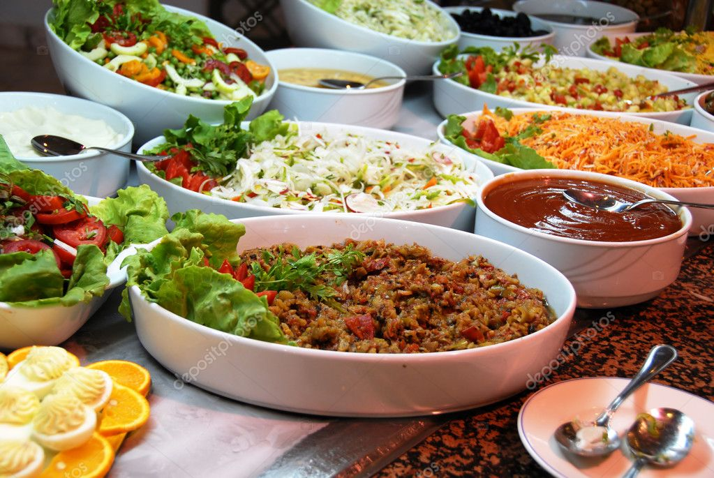 Dishes with various salads in buffet restaurant — Stock Photo #12751747