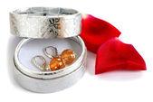 在礼品盒中的耳环 — 图库照片