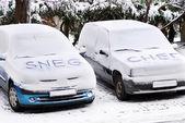 Kar mektupların arabalar — Stok fotoğraf