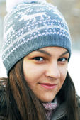 Teenage girl in winter cap — Stock Photo