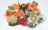 Japanese sushi sashimi platter in a restaurant — Stock Photo