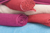 Stacked of colorful towels — Stock Photo