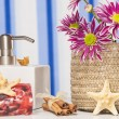 Spa setting with natural soaps and flower — Stock Photo #16177003
