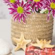 Spa setting with natural soaps and flower — Stock Photo #16177009