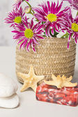 Spa setting with natural soaps and flower — Stock Photo