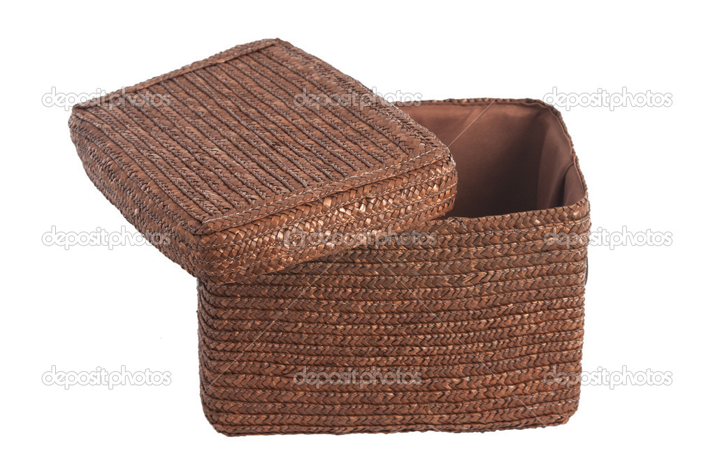 Decorative brown wicker basket with lid isolated on white - Photo by victorO