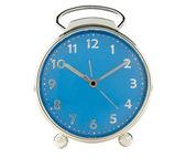 Blue alarm clock on white background — Stock Photo