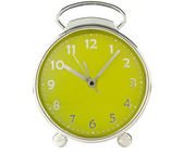 Green alarm clock on white background — Stock Photo