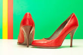 Pair of red high heels — Stock Photo