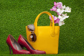 Sunglasses, handbag and red shoes — Stock Photo