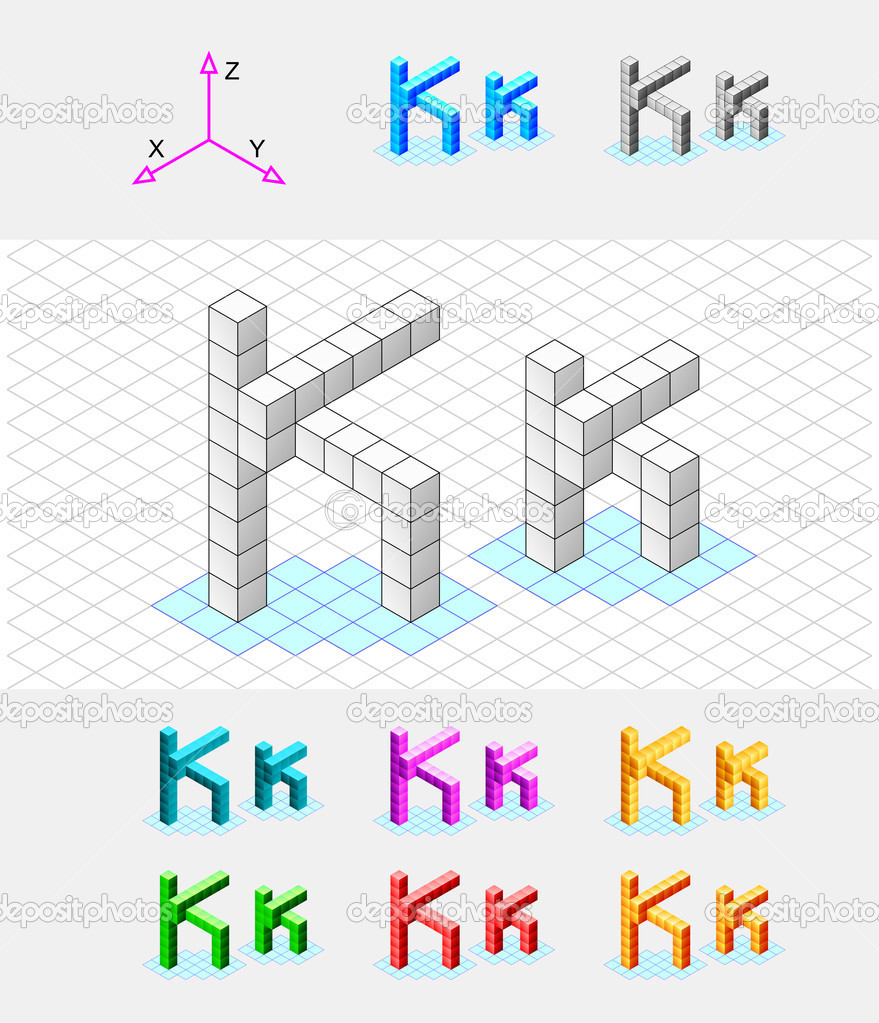 Isometric Grid Vector Isometric font from the cubes.