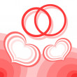 Hearts and wedding rings — Stock Vector