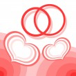 Hearts and wedding rings - Imagen vectorial