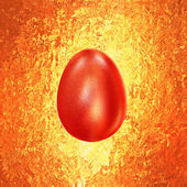 Red Easter Egg glitters in golden vintage background — Stok fotoğraf