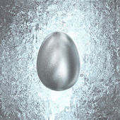 Silver Easter Egg glitters in gold vintage background — Stock Photo