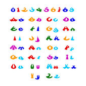 Witzige comic-alphabet — Stockvektor